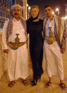 Hussein, Pamela and Mohammed outside the Presidents Mosque.