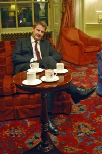The saviour -Ollie Harry- resting after his mad dash at the Travellers Club