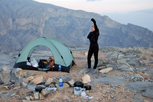 The camp on the rim of the escarpment overlooking Wadi Ghul