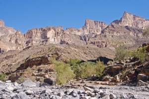 A view over Jebel Shams from the road leading up to the start of the trek.