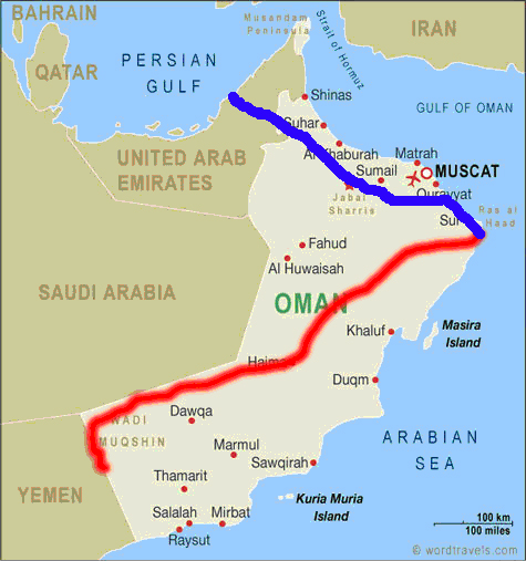 This is our proposed route and if borders close due to the war in Yemen, the blue, which doesn´appeal at all.