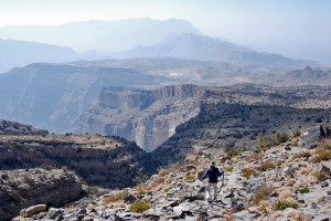 Hiking down the trail overlooking Wadi Ghul