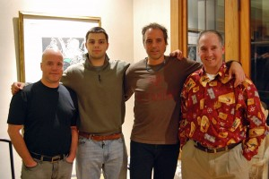 Finally meeting Dan Buettner after being in contact for 23 years in his spectacular mansion in Minneapolis. From left: Me (yes, adding on Expedition weight), Dan Jr, Dan and his brother Steve.