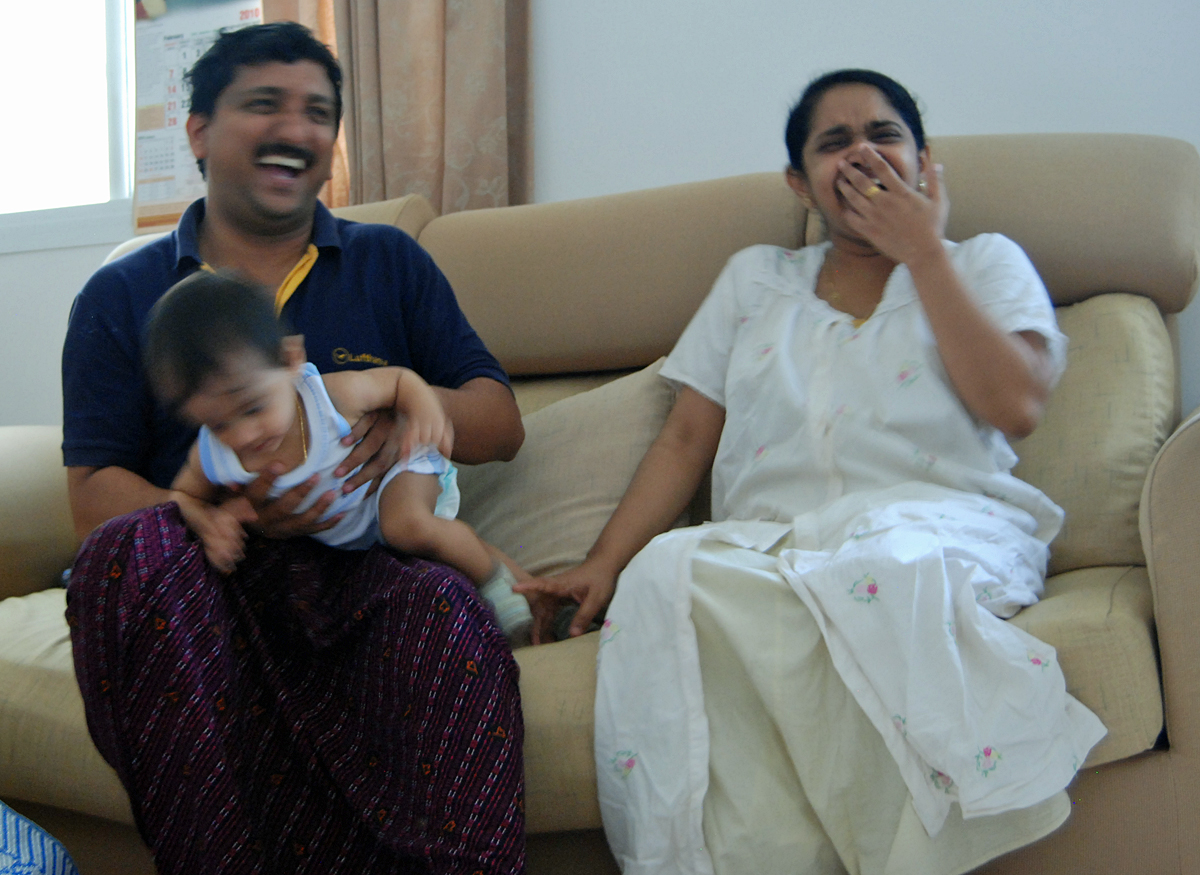 Bainu with his wife Sharol and 10 months old son.
