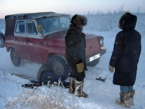 A broken down car in Siberia during winter is life threatening....our guide Julia had to go through a lot!