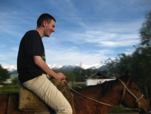 : riding a horse in Kyrgyzstan. Here my thoughts were 'is this beast going to stop?', and on my lips can be read 'Damn it! DAMN IT!!'. But you can't say no to Kyrgyz or you might end offending these people. Then I was offered to buy the horse in return for my digital camera.