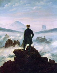 "a painting of Casper David Friedrich (Wanderer above a Sea of Fog, 1818) which I think captures the ethos of the explorer ""going it alone."""