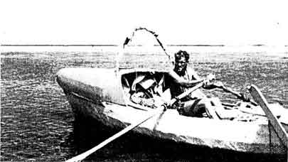 Anders Svedlund's plastic rowing boat, Waka Moana, was covered at both ends and open in the centre where he had fitted a sliding seat. The boat was just under six metres in length, and when fully laden displaced one tonne.