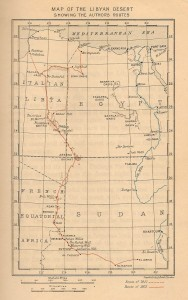 Map showing the explorers route through the Libyan Desert.