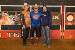 PBR bull-fighters Frank Newsom (left) and Shorty Gorham (right) with writer Jim Clash in Texas. (Photo: Andy Gregory/Humps n Horns Magazine)