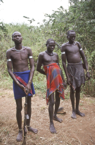E-165-18sEthiopia Mursi men in loin cloths