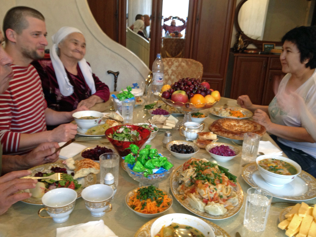 Times have changed. Today there´s load of food. Traditional Kazakh generosity continues.