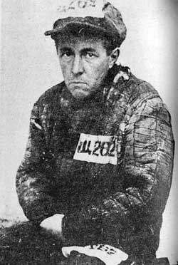 Photo of the author Aleksandr Solzhenitsyn as a camp prisoner in Gulag.